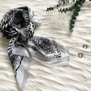 Adrienne Vittadini Grey Animal Print Silk Scarf